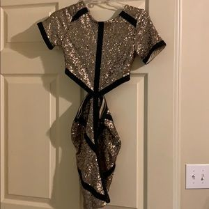 Missguided Gold and Black Sequin Cocktail Dress